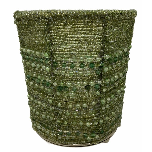 Pottery Barn Green Glass Beaded Candleholder Cup